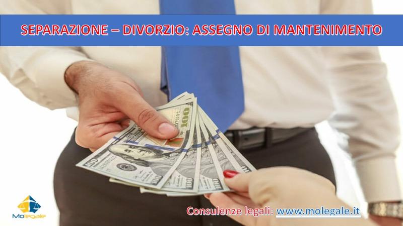 separazione divorzio assegno di mantenimento